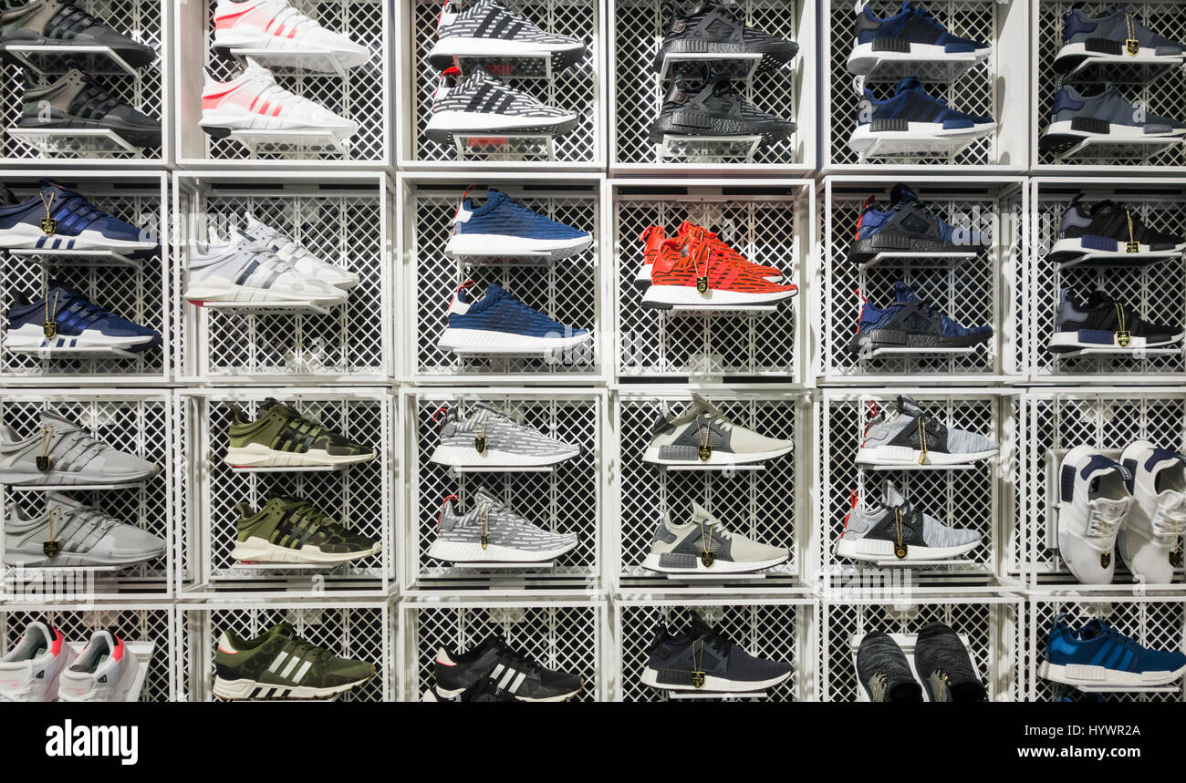7a4072a2280d1 JD Sports store. UK. Adidas trainers/running shoes display Stock ...