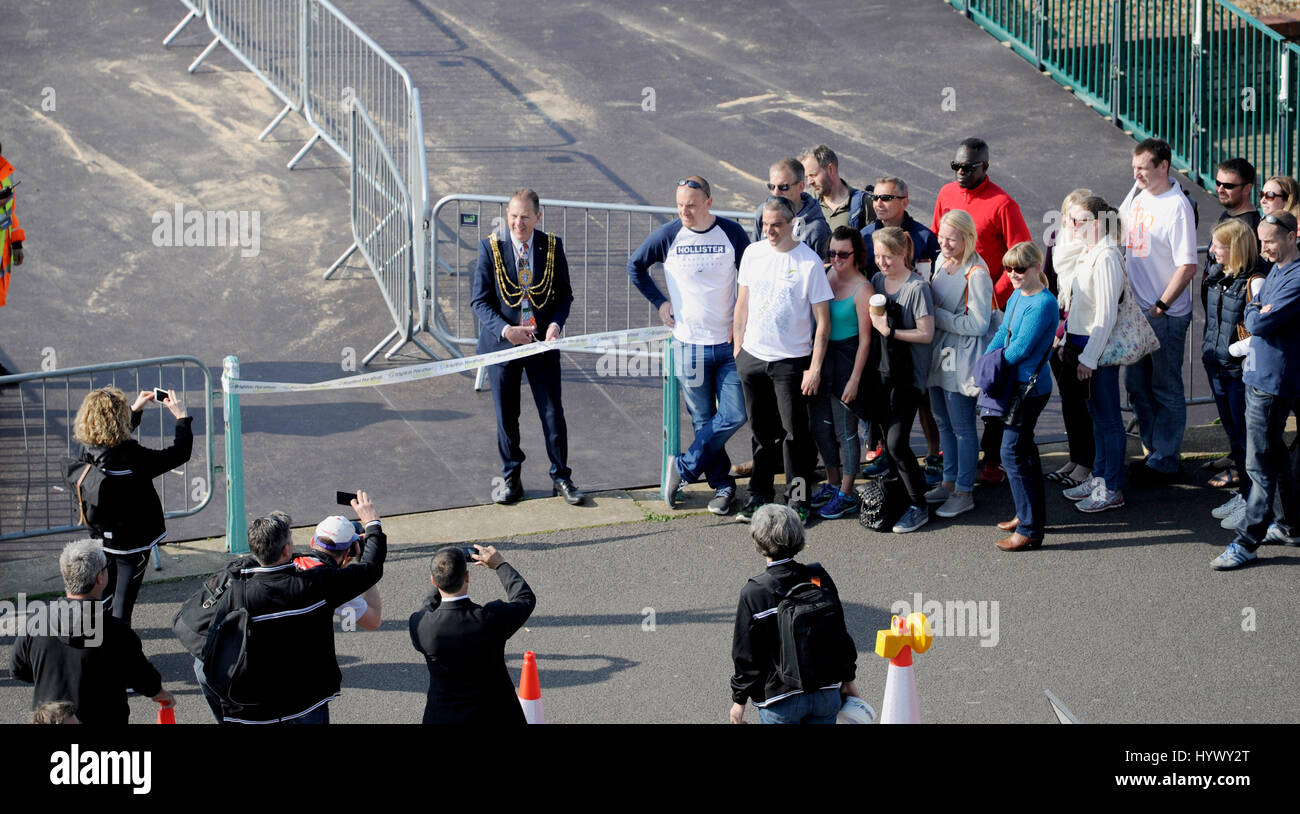 Brighton, UK. 7th Apr, 2017. The Mayor of Brighton and Hove Cllr Pete West opens the Brighton Marathon Village this - Stock Image