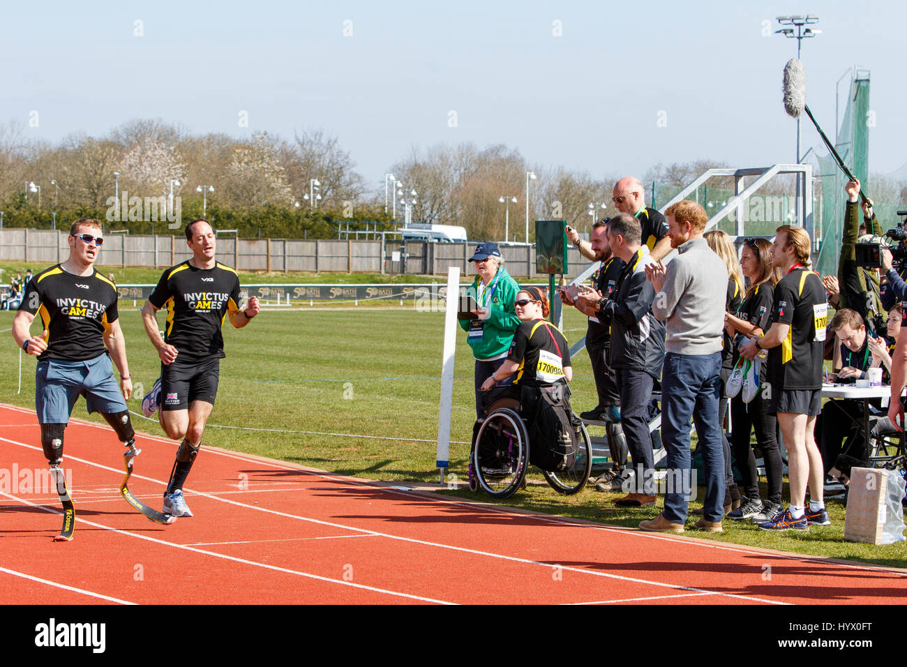 Bath, UK, 7th April, 2017. Prince Harry is pictured at the University of Bath Sports Training Village watching Athlete's - Stock Image