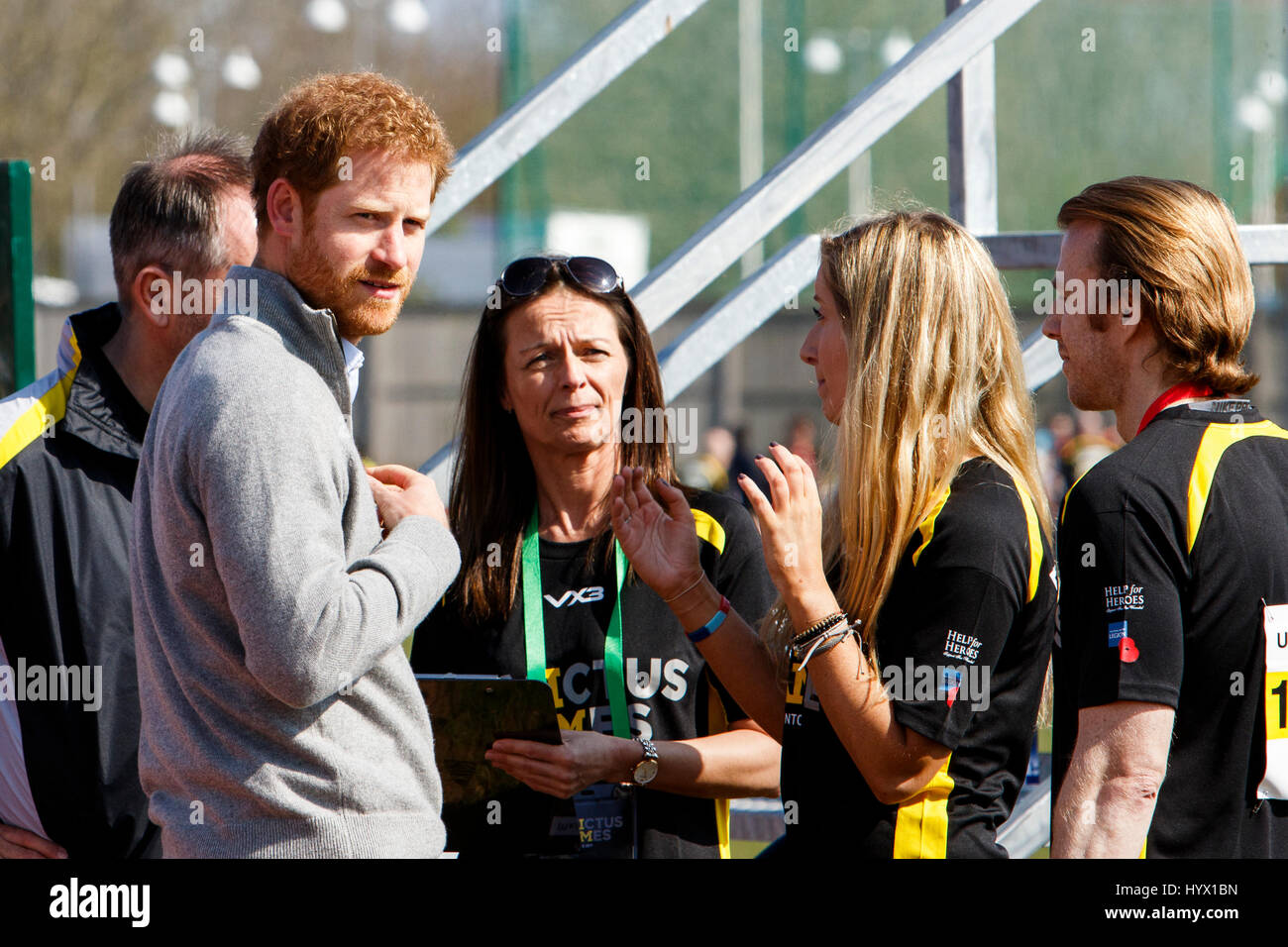 Bath, UK. 7th Apr, 2017. Prince Harry is pictured at the University of Bath Sports Training Village as he attends - Stock Image