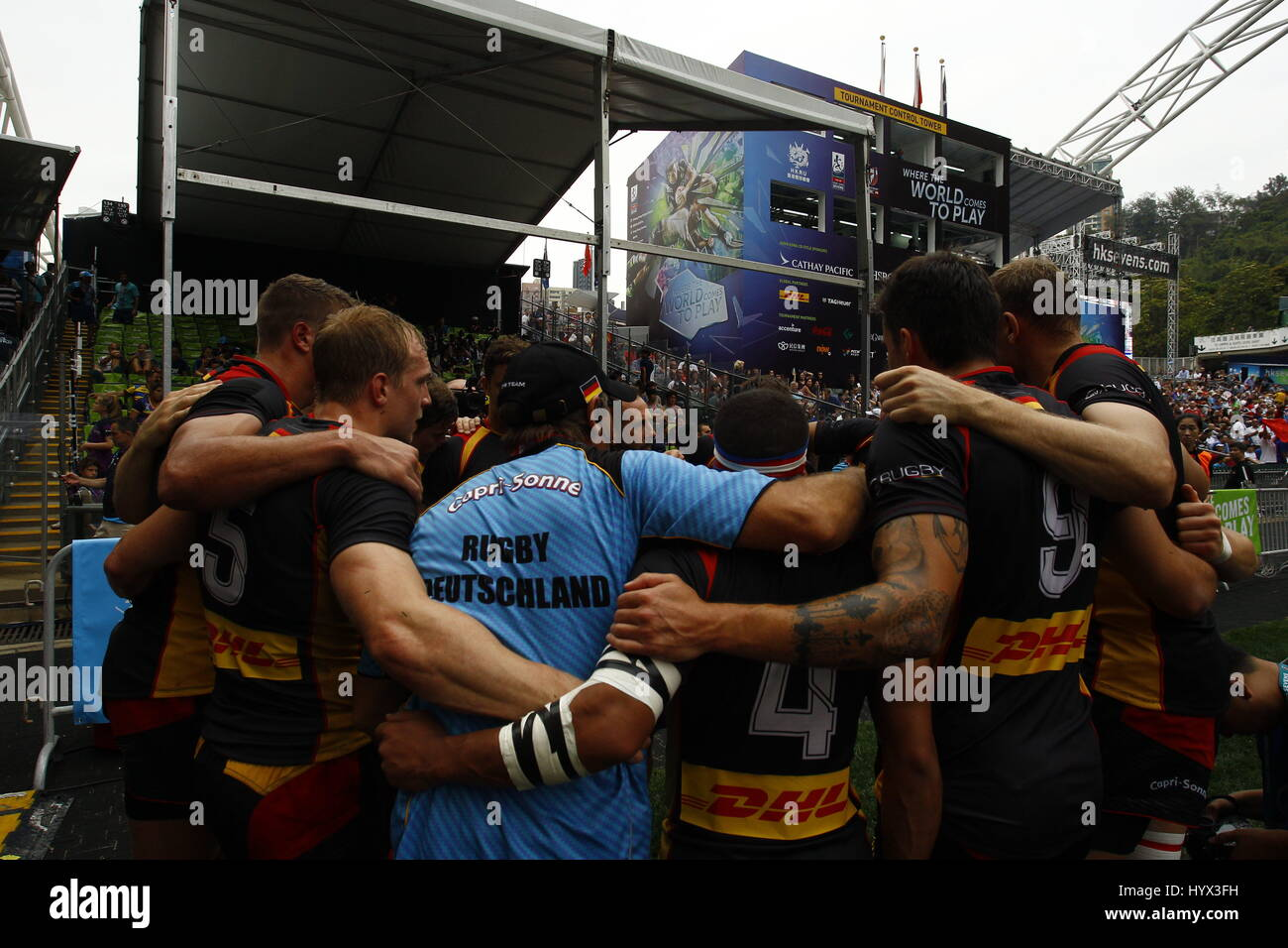 Hong Kong, CHINA. 7th Apr, 2017. A German Rugby Team display comradeship after winning the opening match against - Stock Image