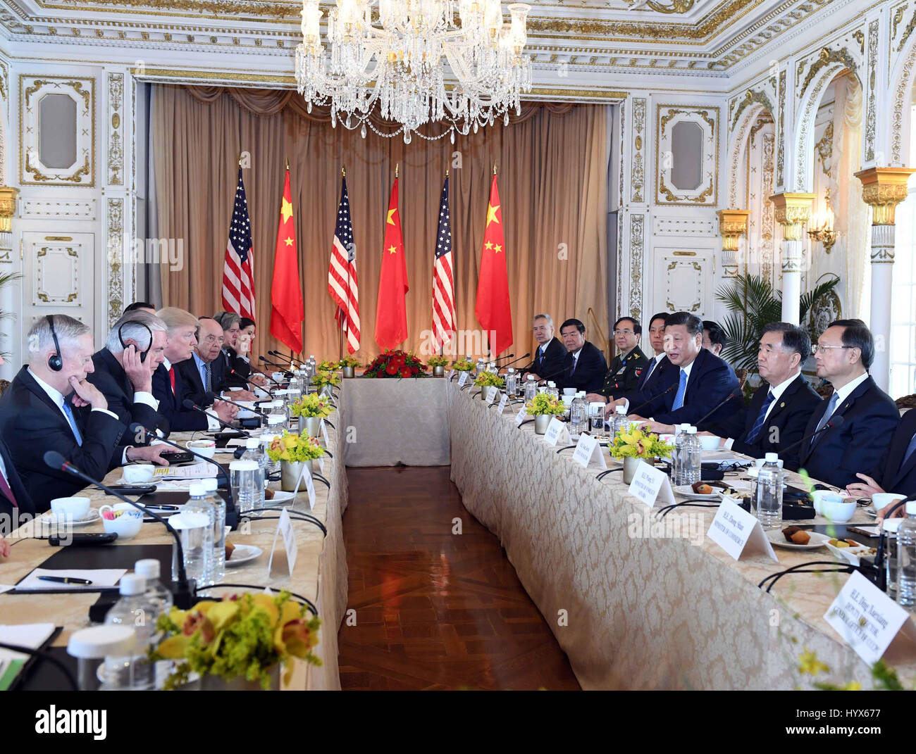 Mar-a-Lago, Florida, USA. 07th Apr, 2017. Chinese President Xi Jinping (3rd R) and his U.S. counterpart Donald Trump - Stock Image