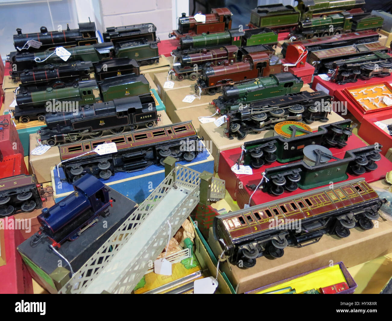 A selection of rare and collectable vintage electric model trains for sale at a Vintage Toy Fair at Bath & West Stock Photo