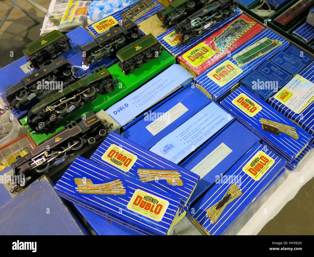 A selection of rare and collectable Hornby Dublo trains and accessories for sale at a Vintage Toy Fair at Bath & Stock Photo