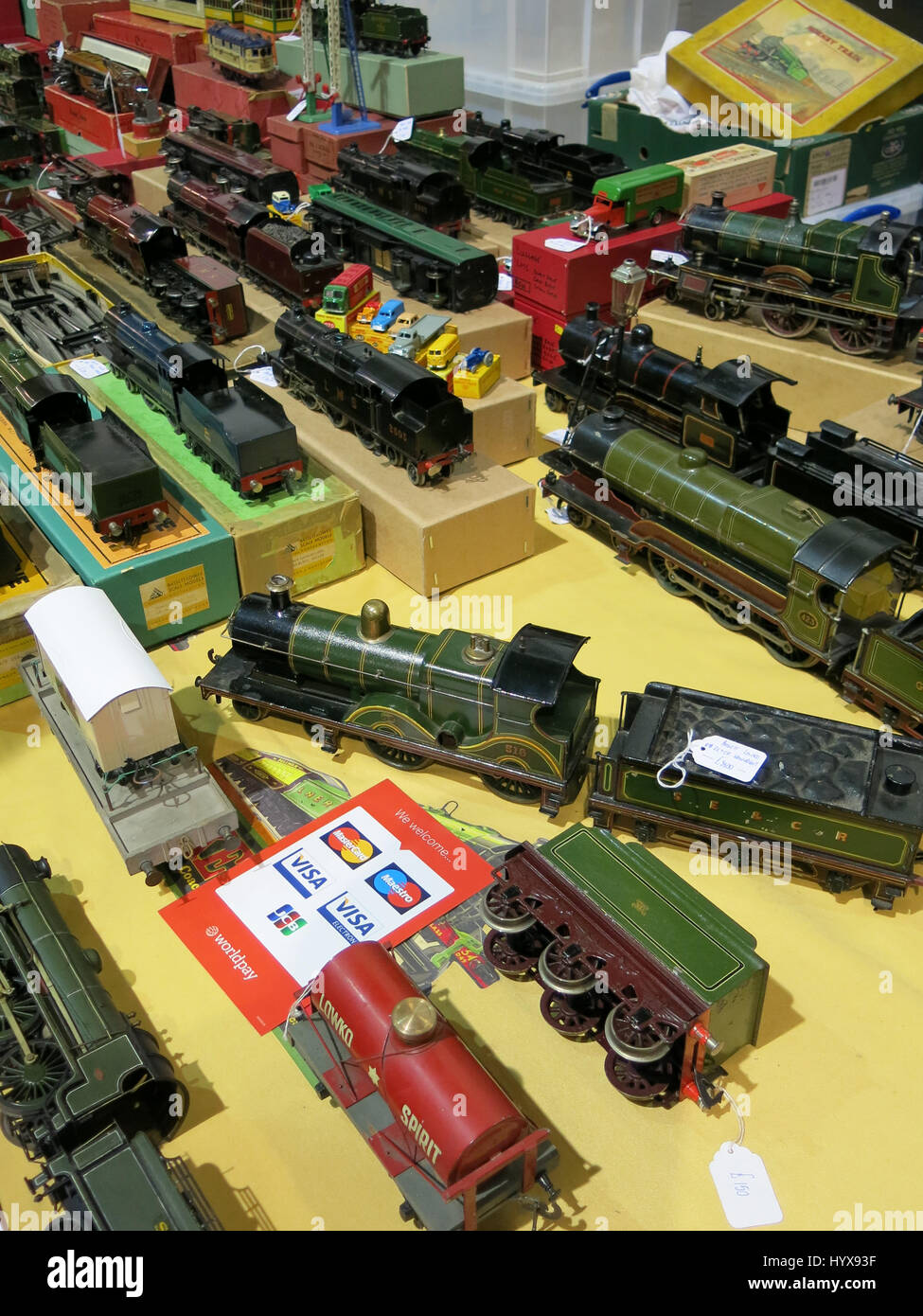 A selection of rare and collectable electric trains for sale at a Vintage Toy Fair at Bath & West Showground, Somerset, Stock Photo