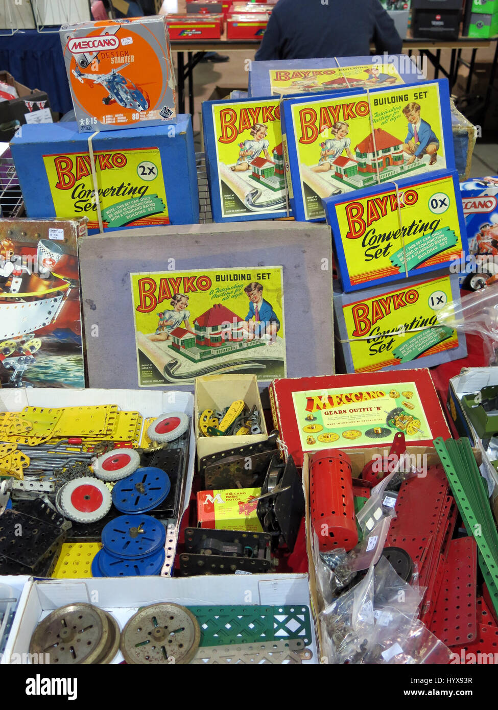 A display of rare and collectable  Meccano and Bayko parts and sets for sale at a Vintage Toy Fair at Bath & - Stock Image