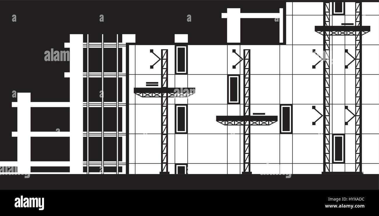 Scaffolding for installation of curtain wall of building - vector illustration - Stock Vector