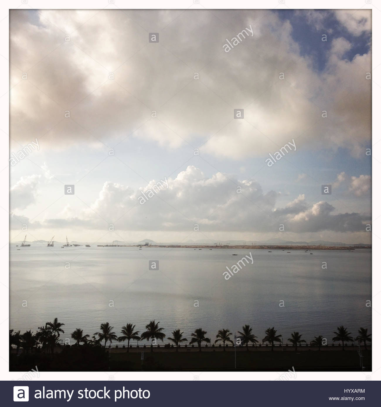 The South China Sea viewed from the city of Zhuhai. - Stock Image