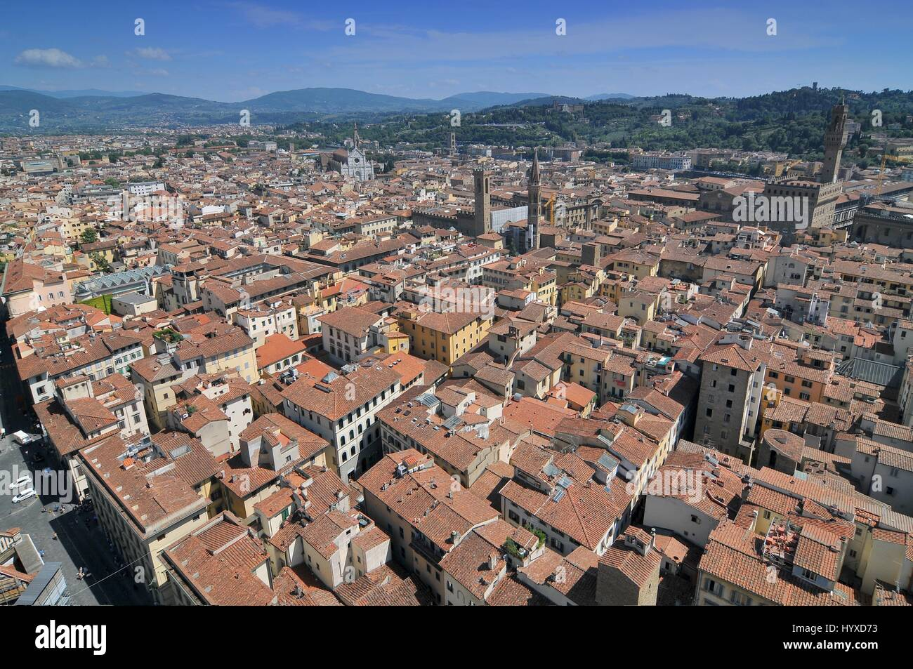 View from the roof of Florence Duomo to the streets below Florence Italy - Stock Image