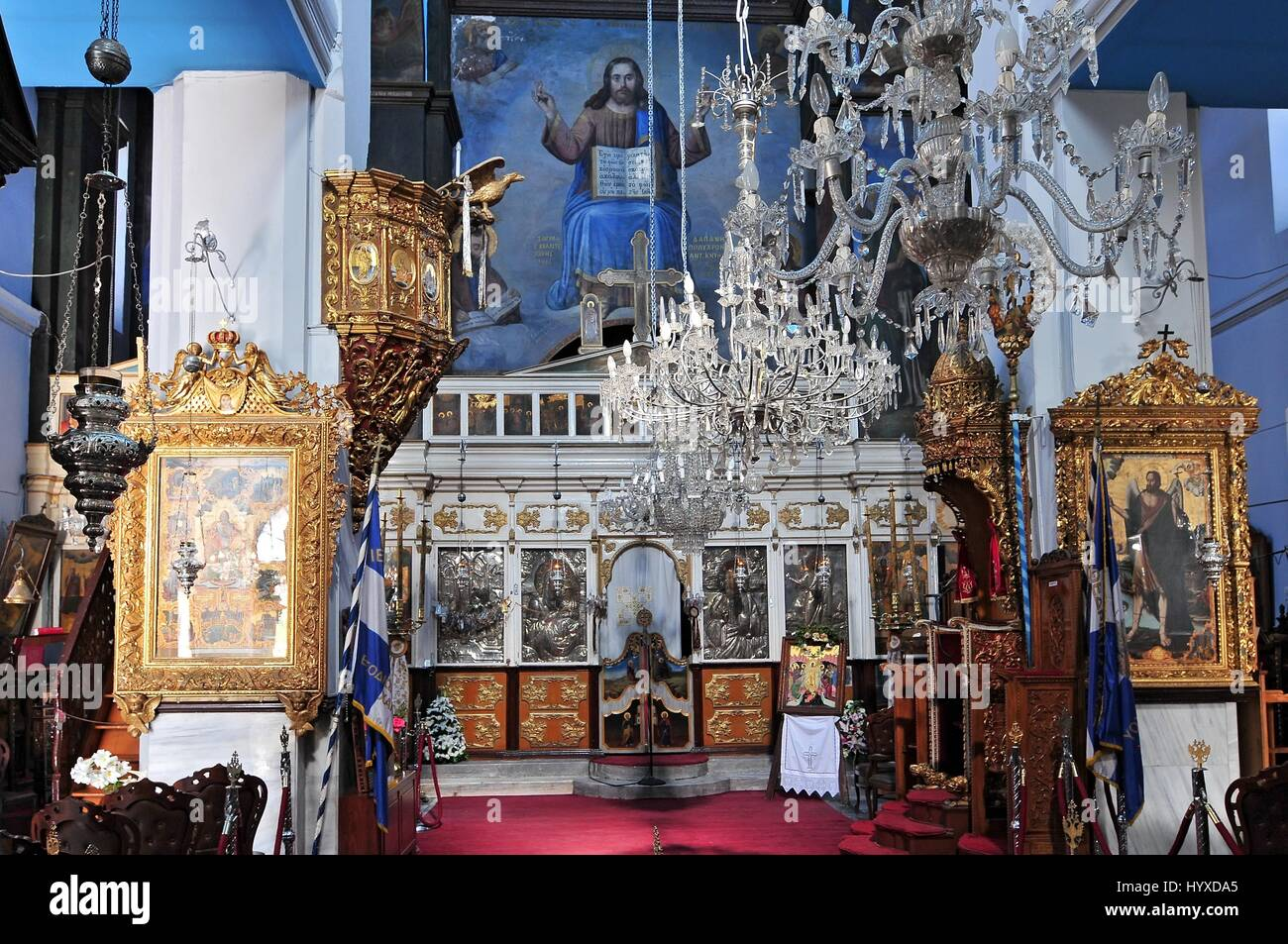 Interior of the Greek Orthodox Cathedral dedicated to Panagia Trimartyri Chania Crete Stock Photo