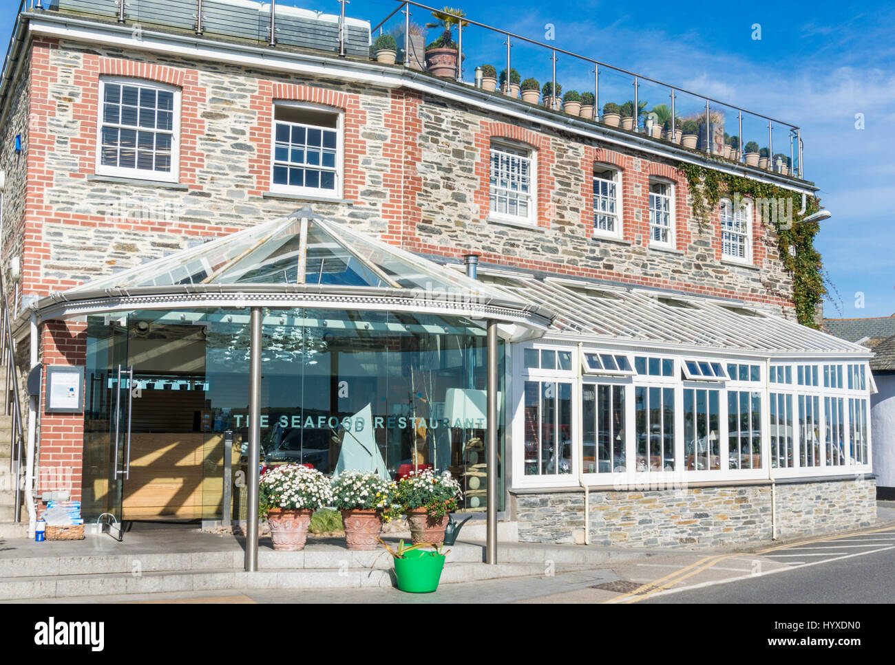 Padstow Cornwall the seafood restaurant Padstow cornwall rick stein owner Padstow Harbour Cornwall west country - Stock Image