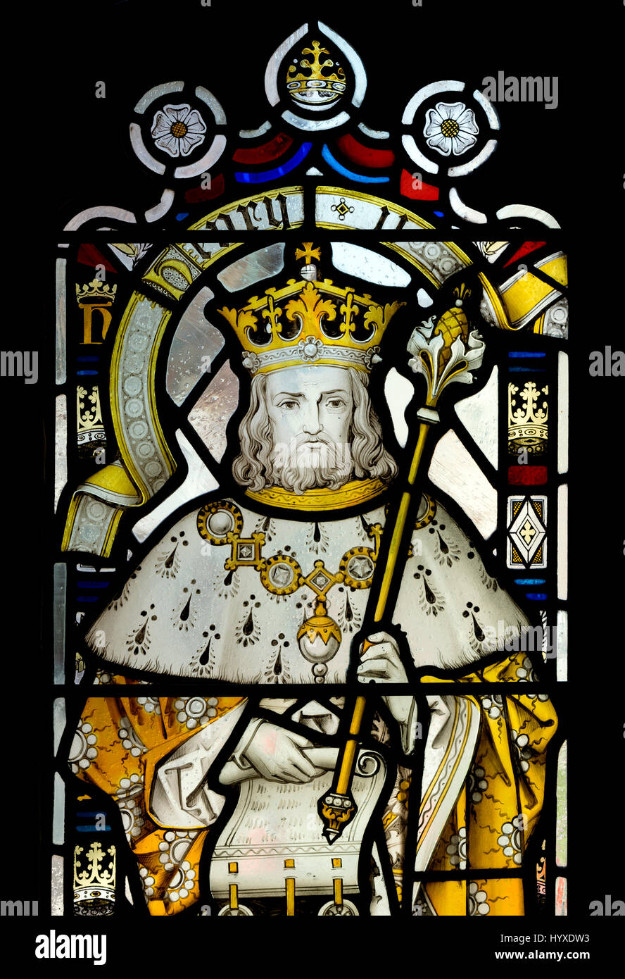 Henry II stained glass in Bristol Cathedral, UK Stock Photo