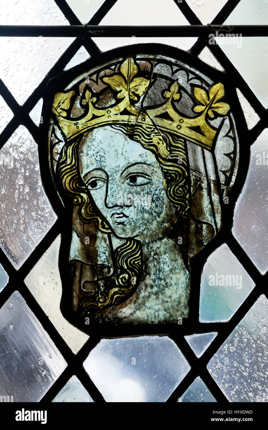 Medieval stained glass in Bristol Cathedral, UK - Stock Image