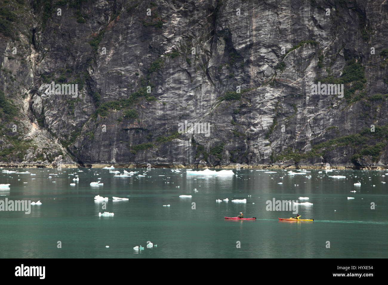 Near a shear rockface, travelers in kayaks navigate water around icebergs. - Stock Image