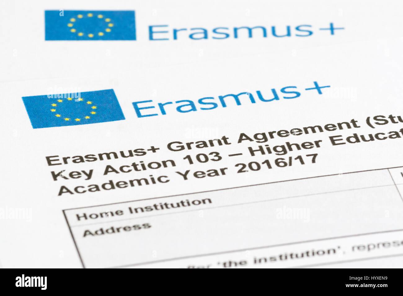 Erasmus+ EU student exchange programme Grant Agreement - Stock Image
