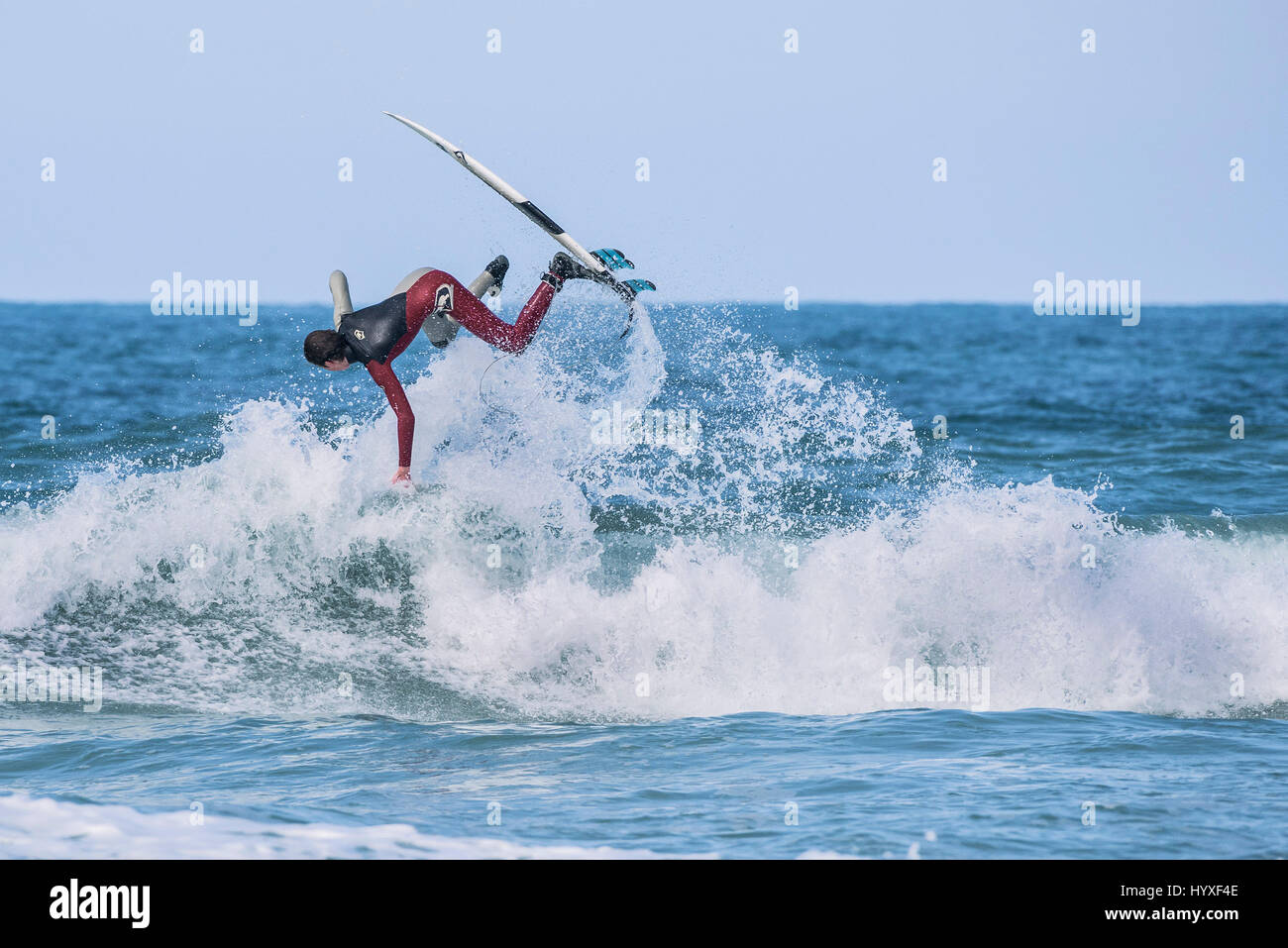 UK Surfing Surfer Physical activity Watersport Skill Spectacular action Leisure activity Lifestyle Recreation Hobby - Stock Image