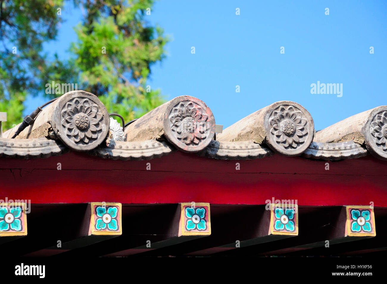 Lotus flower architecture stock photos lotus flower architecture lotus flower architectural details on a chinese style roof at xiangshan temples at longmen grottoes in izmirmasajfo