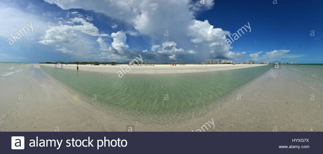 A 180 degree view of Tigertail Beach. - Stock Image