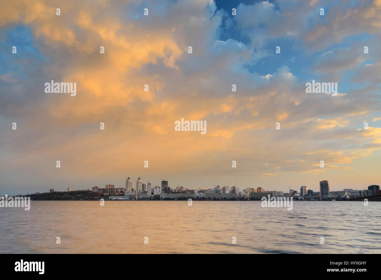 Majestic colorful sunset after storm in the Dnipropetrovsk. Ukraine - Stock Image