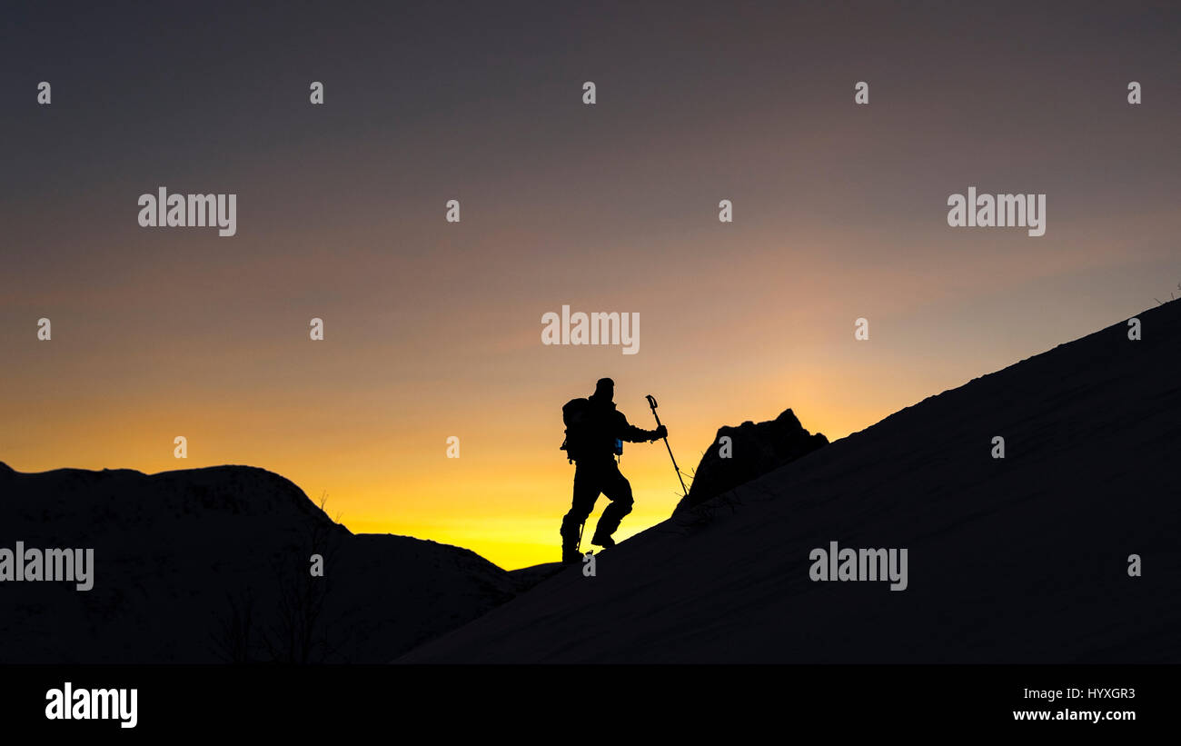 Man taking a brief pause and admiring the view, while ski touring on Senja Island, Northern Norway. - Stock Image