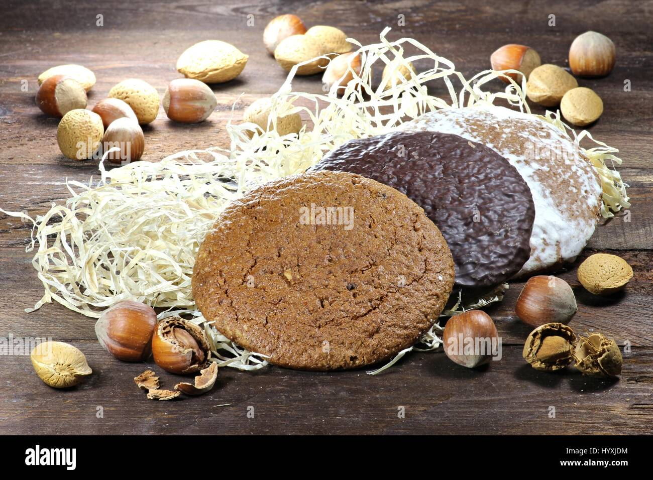 Gingerbread made in Nuremberg. Nuremberg is a city in Germany and well-known for its gingerbread skilled crafts - Stock Image