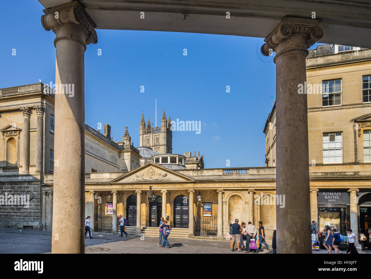 United Kingdom, Somerset, Bath, South Colonnade of the Grand Pump Room at the Roman Bath Stock Photo
