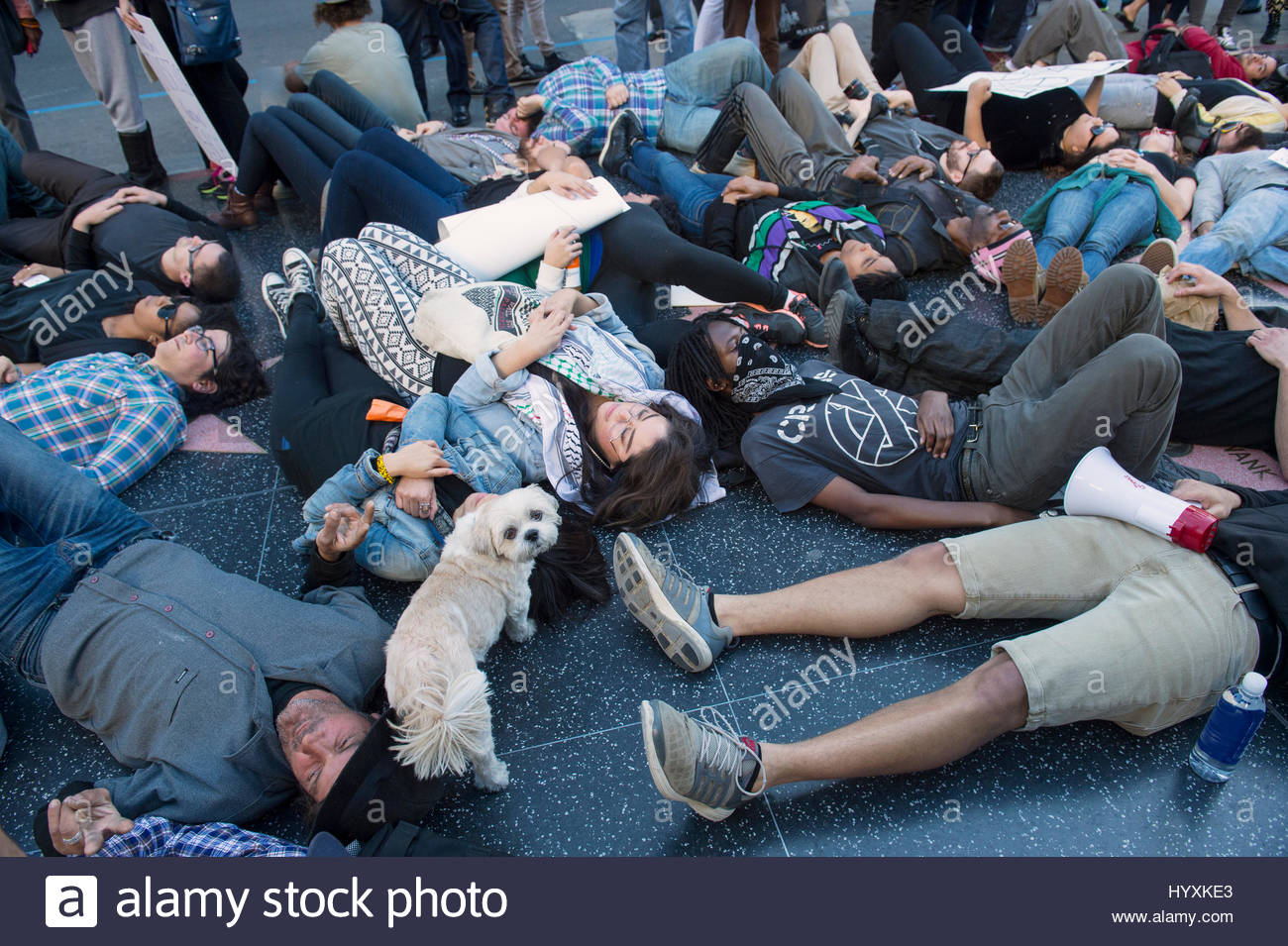 A protest against police brutality in Hollywood, California. - Stock Image