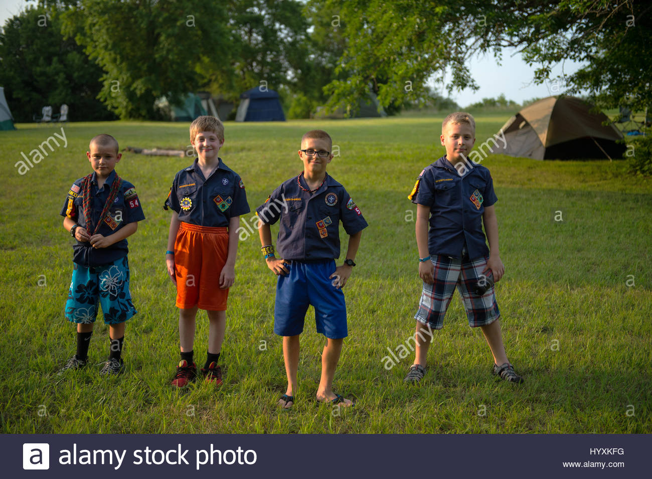 Group of boys in scout camp near Humbolt, Nebraska. - Stock Image