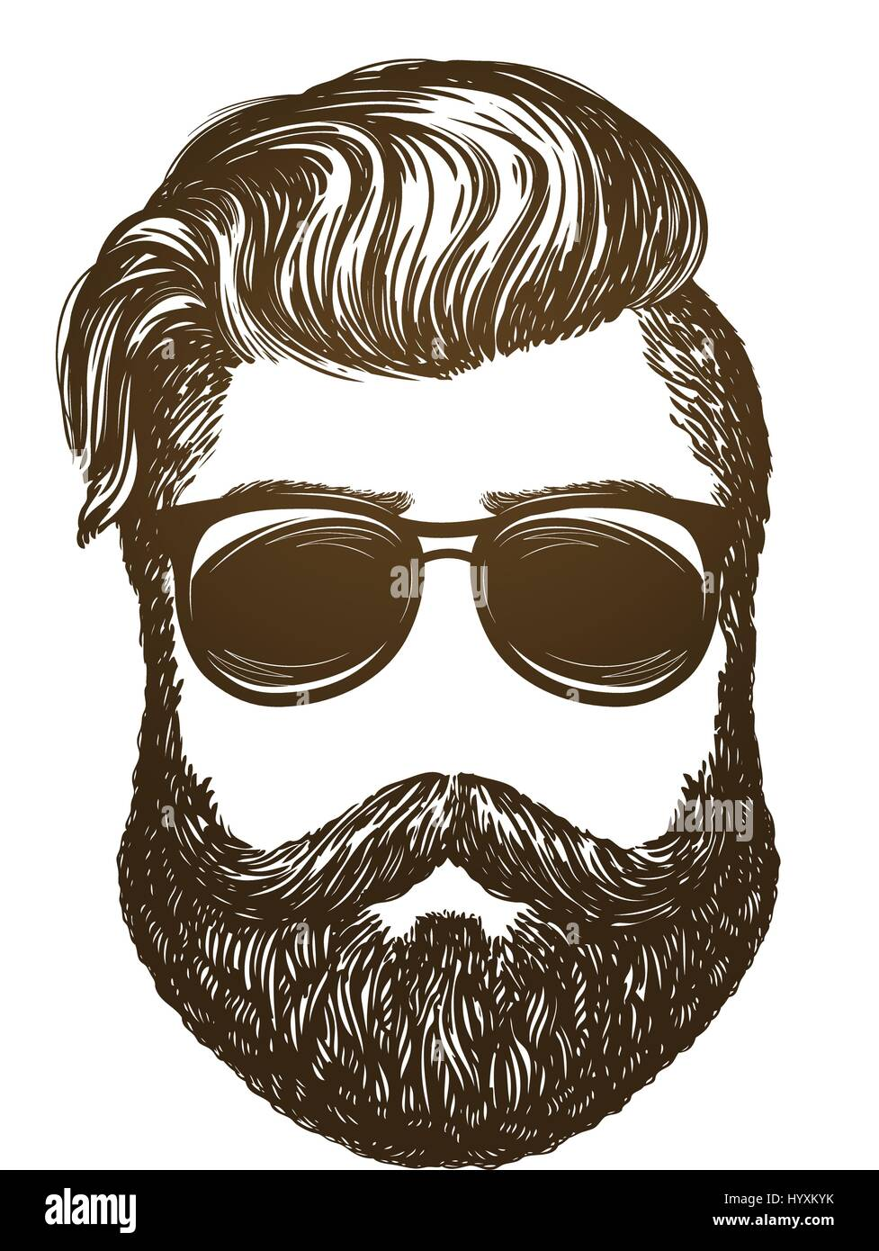 Hand Drawn Portrait Of Man With Beard Hipster Sunglasses Sketch