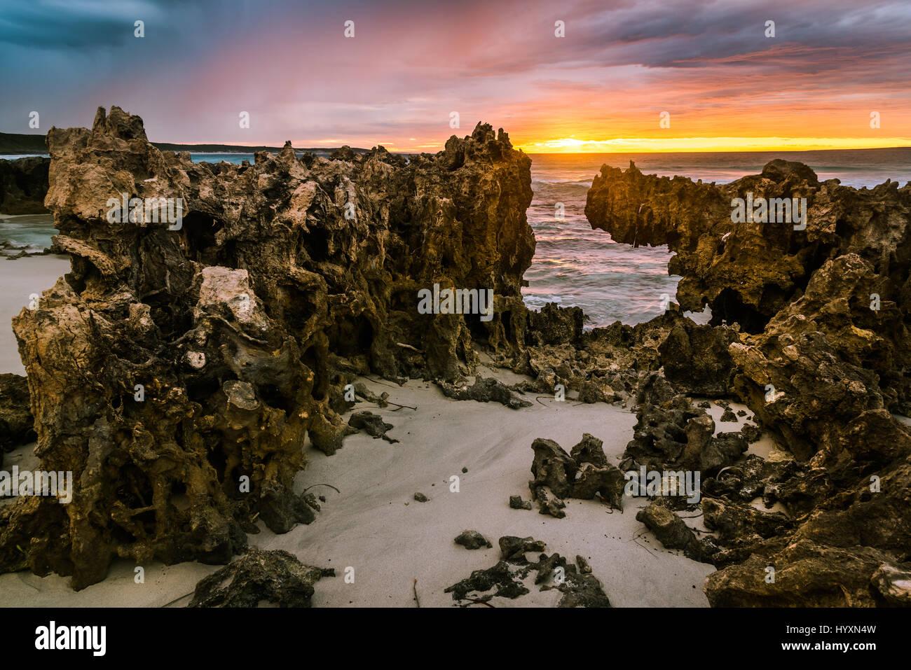 Sunrise at Quagi Beach in Western Australia - Stock Image