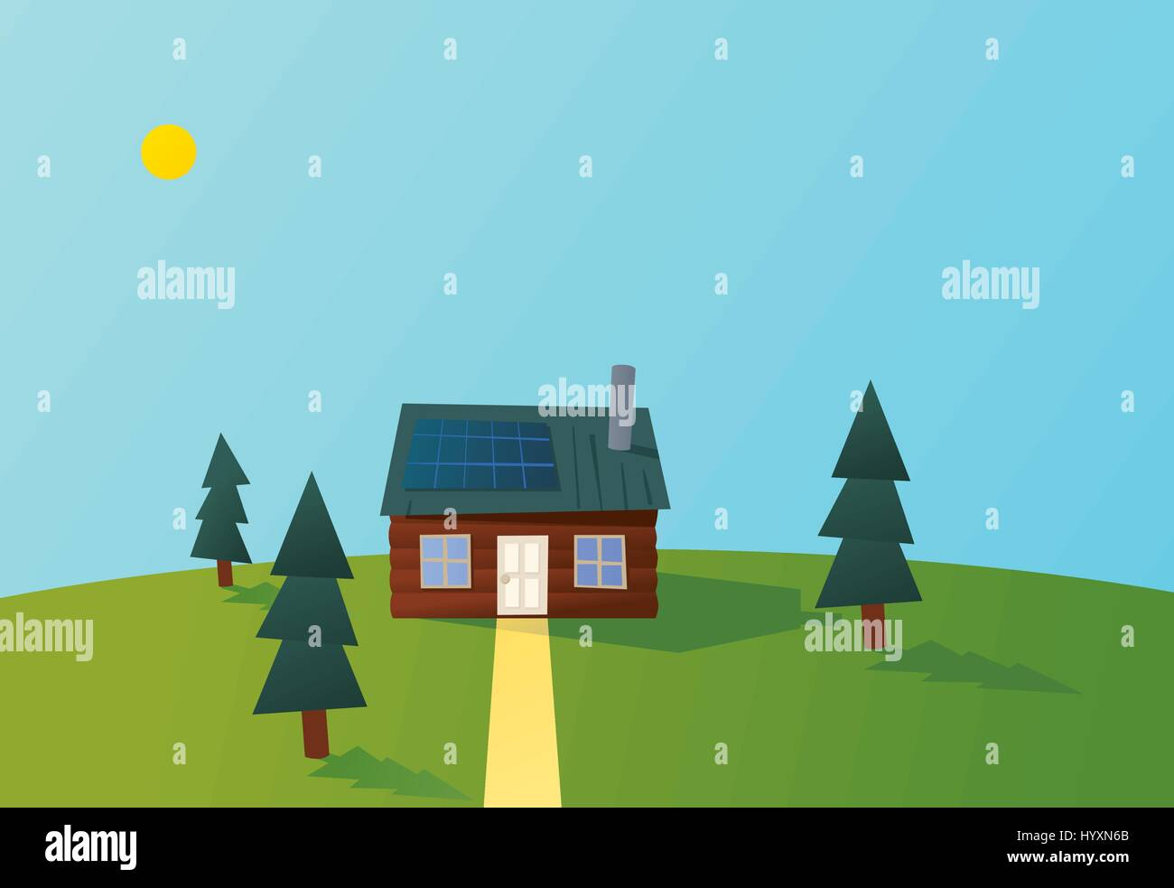 Log cabin in the forest with solar panels on the roof. - Stock Vector