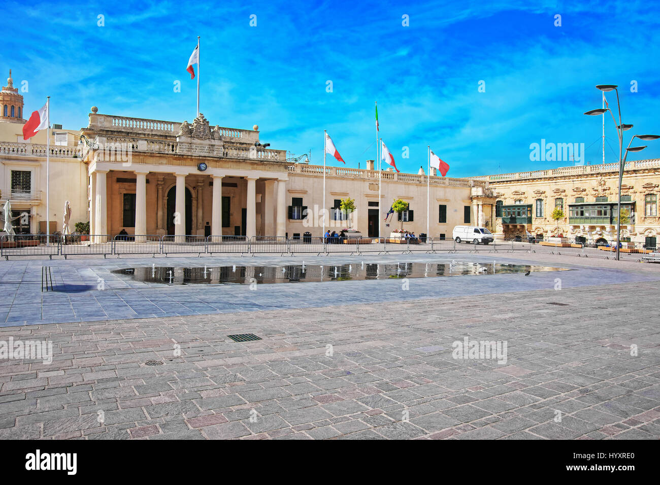 Valletta, Malta - April 3, 2014: People at Guard house in St George Square in Valletta old town, Malta - Stock Image