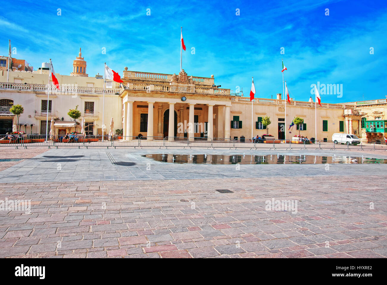 Valletta, Malta - April 3, 2014: People at Guard house on St George Square in Valletta old town, Malta - Stock Image
