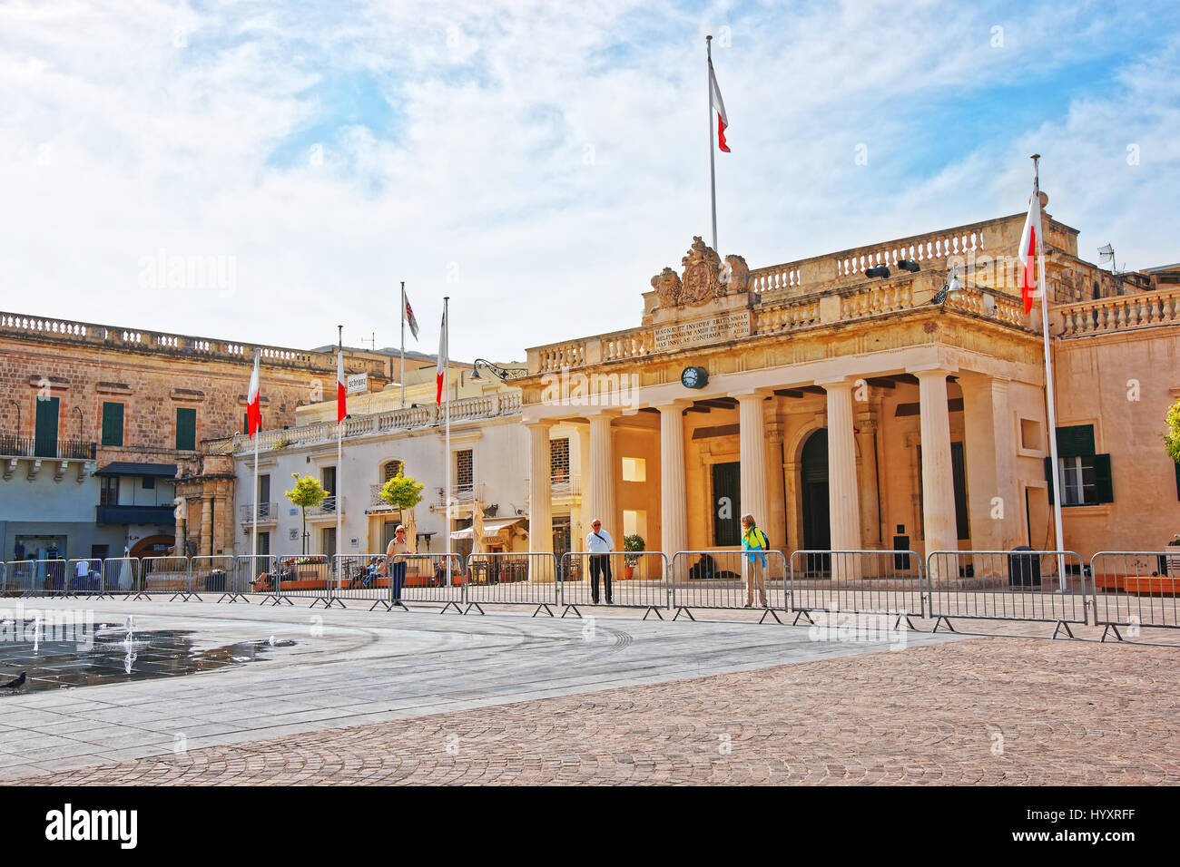 Valletta, Malta - April 3, 2014: People at Guardhouse on St George Square in Valletta old town, Malta - Stock Image