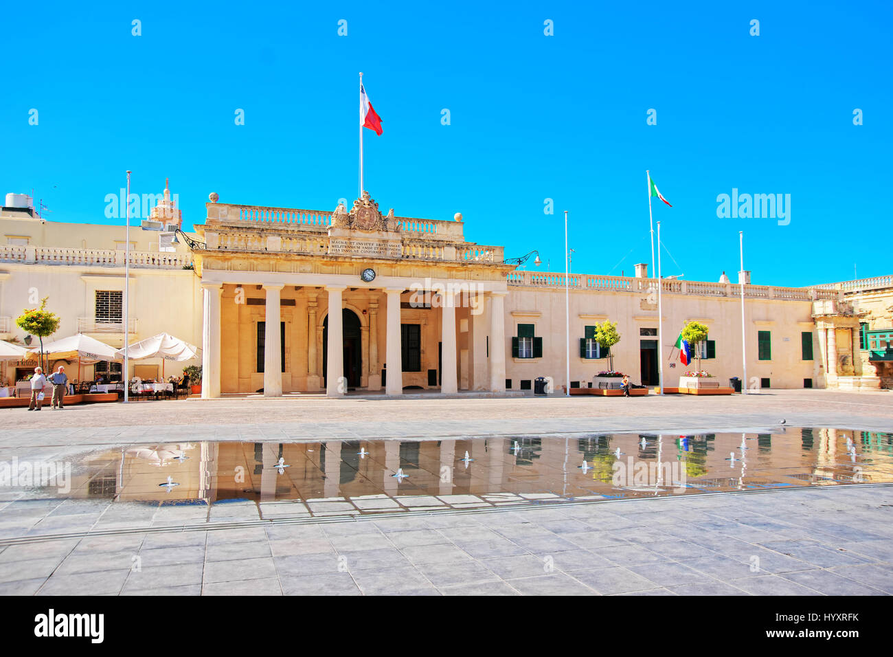 Valletta, Malta - April 1, 2014: People at Main Guard house at St George Square in Valletta old town, Malta - Stock Image
