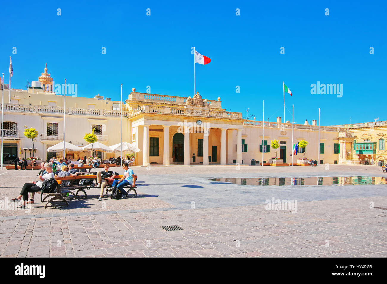Valletta, Malta - April 1, 2014: People at Main Guard house on St George Square in Valletta old town, Malta - Stock Image