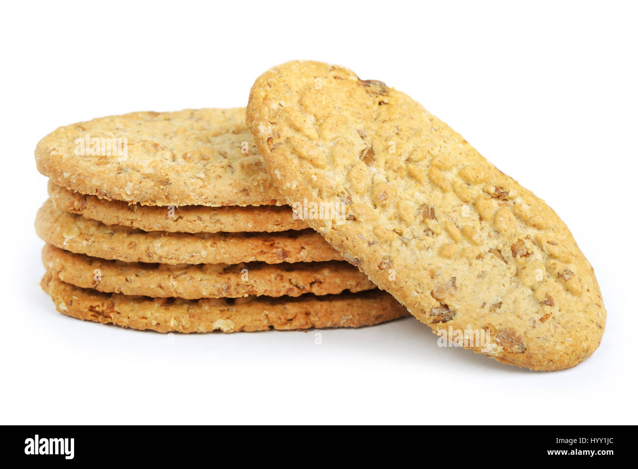 Oval-shaped cookies isolated on white background - Stock Image