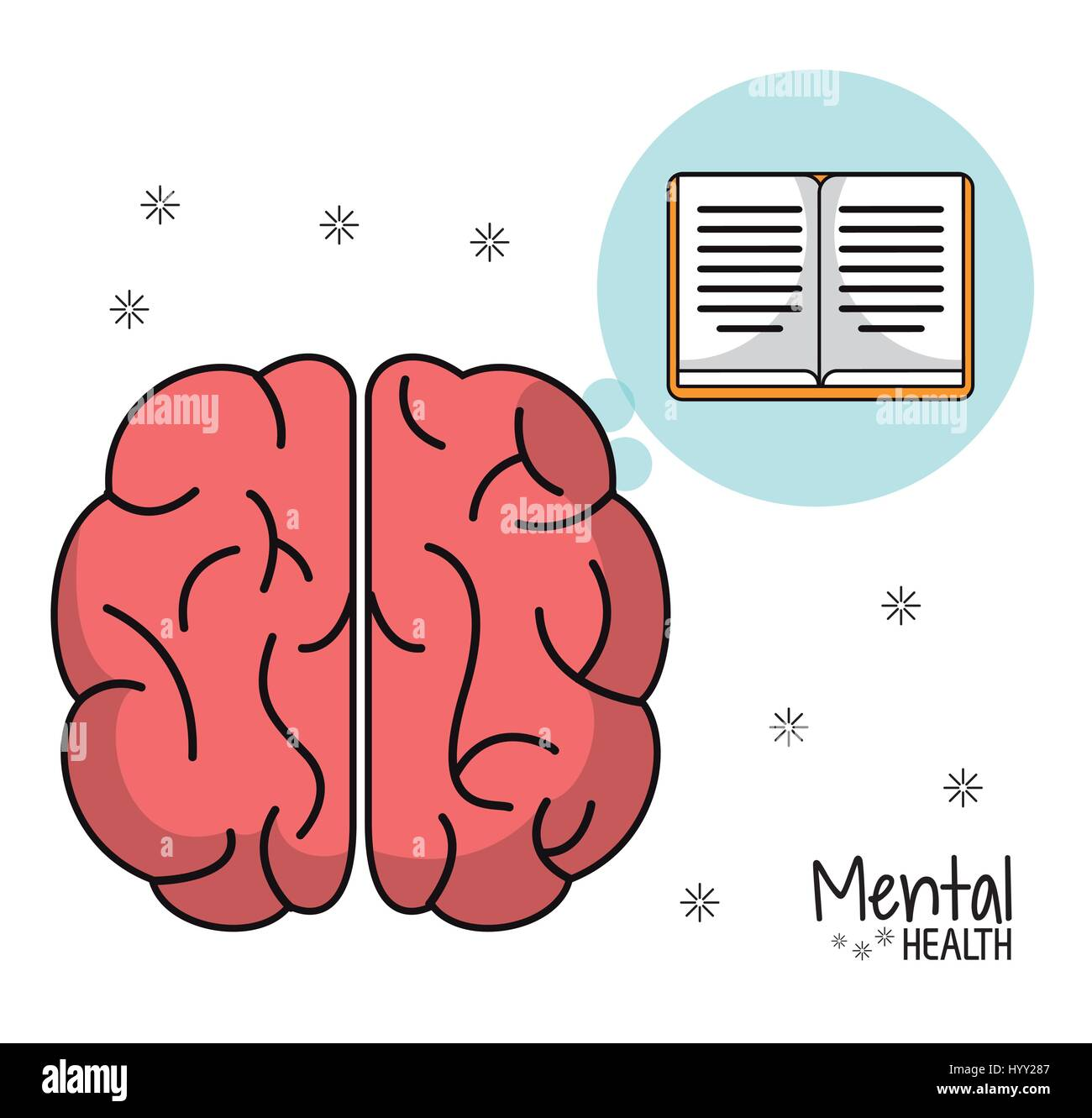 mental health brain book learn design - Stock Image
