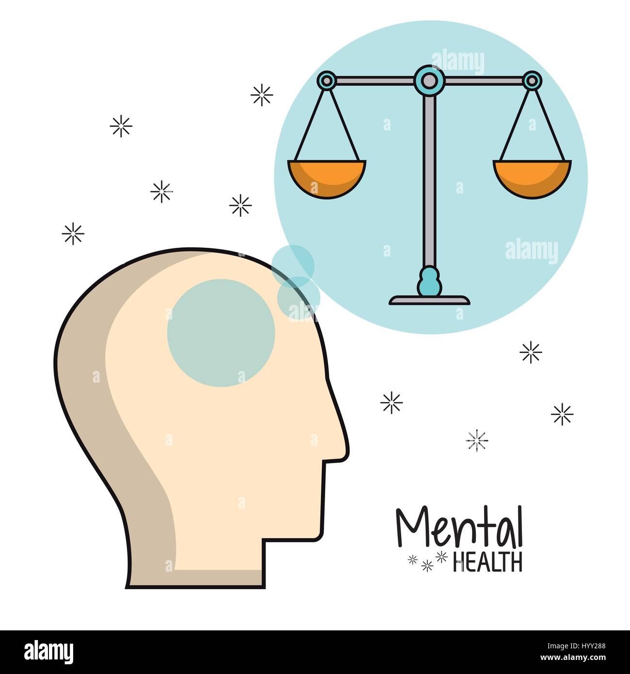 mental health head balance image - Stock Image