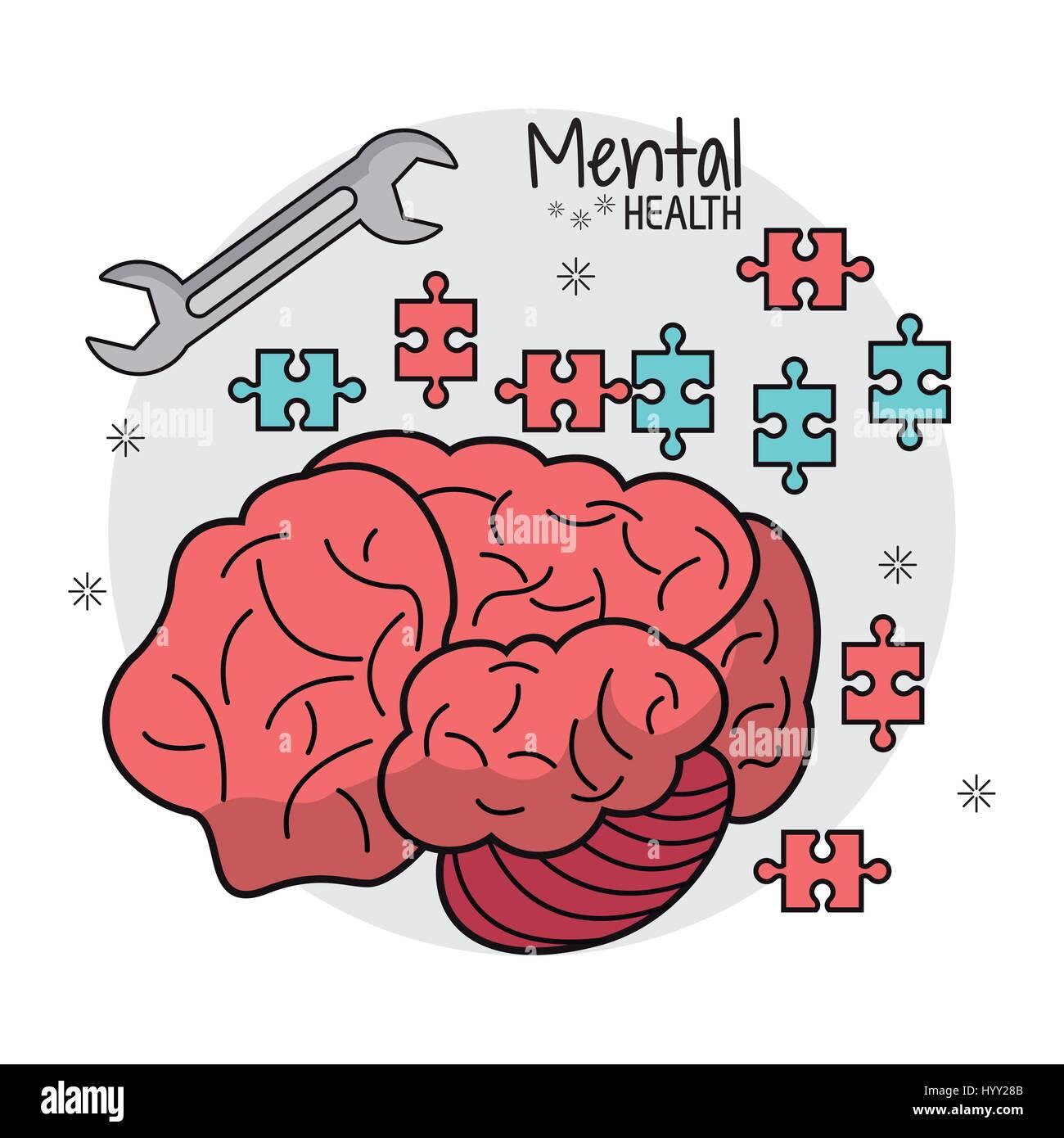 mental health brain puzzle innovation Stock Vector