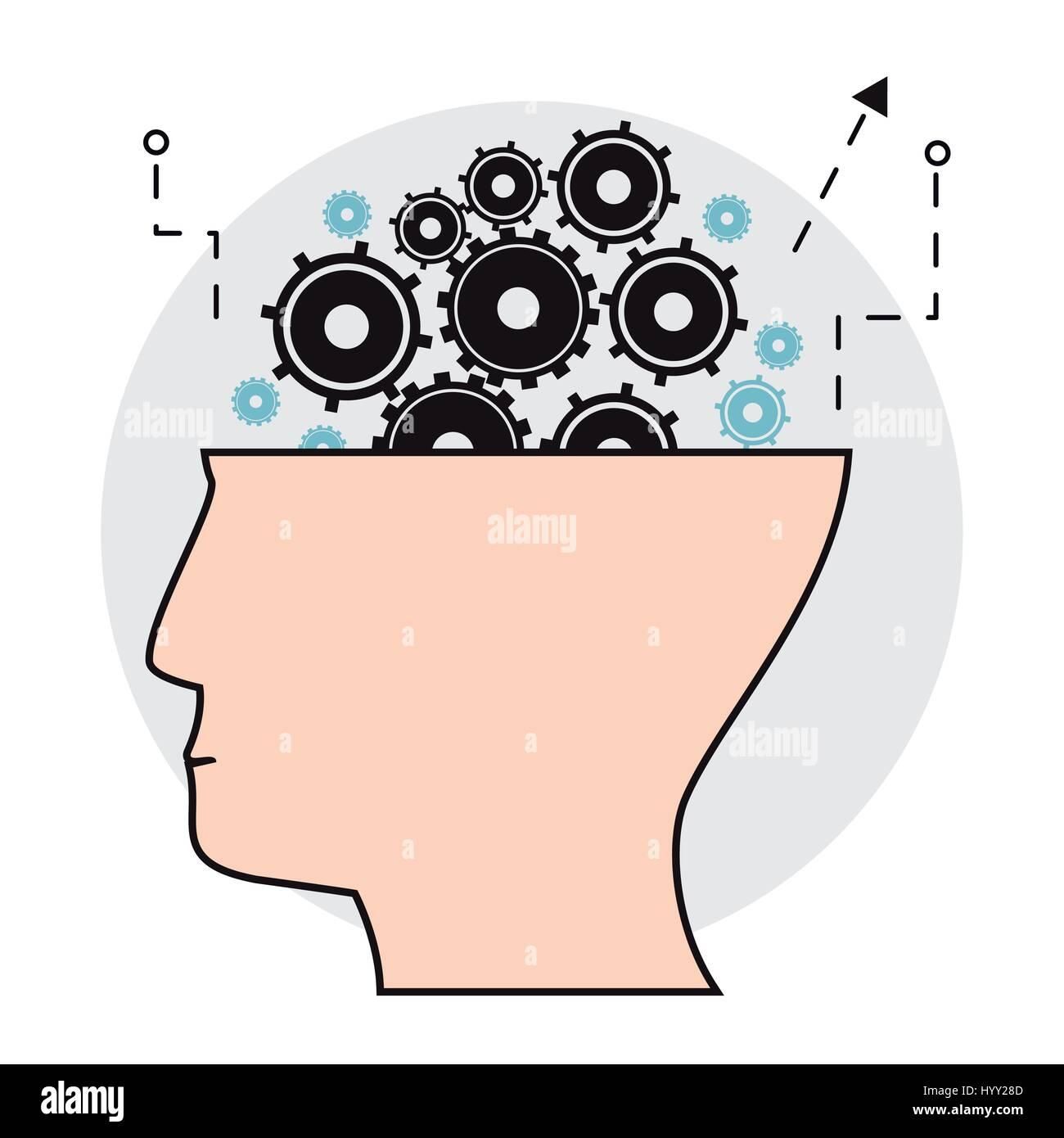 human head gears creativity image - Stock Image