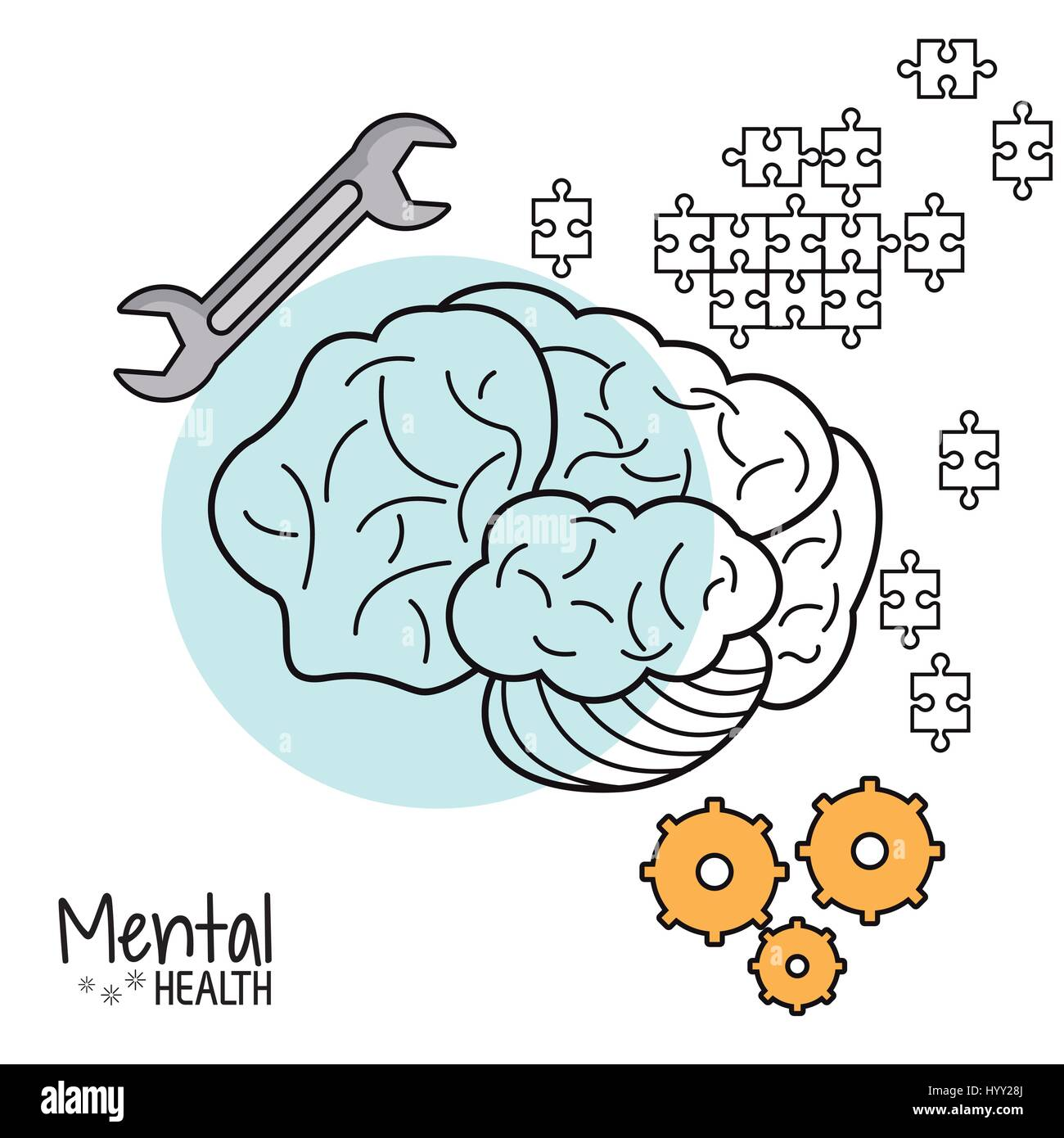 mental health brain gear puzzle tool - Stock Image