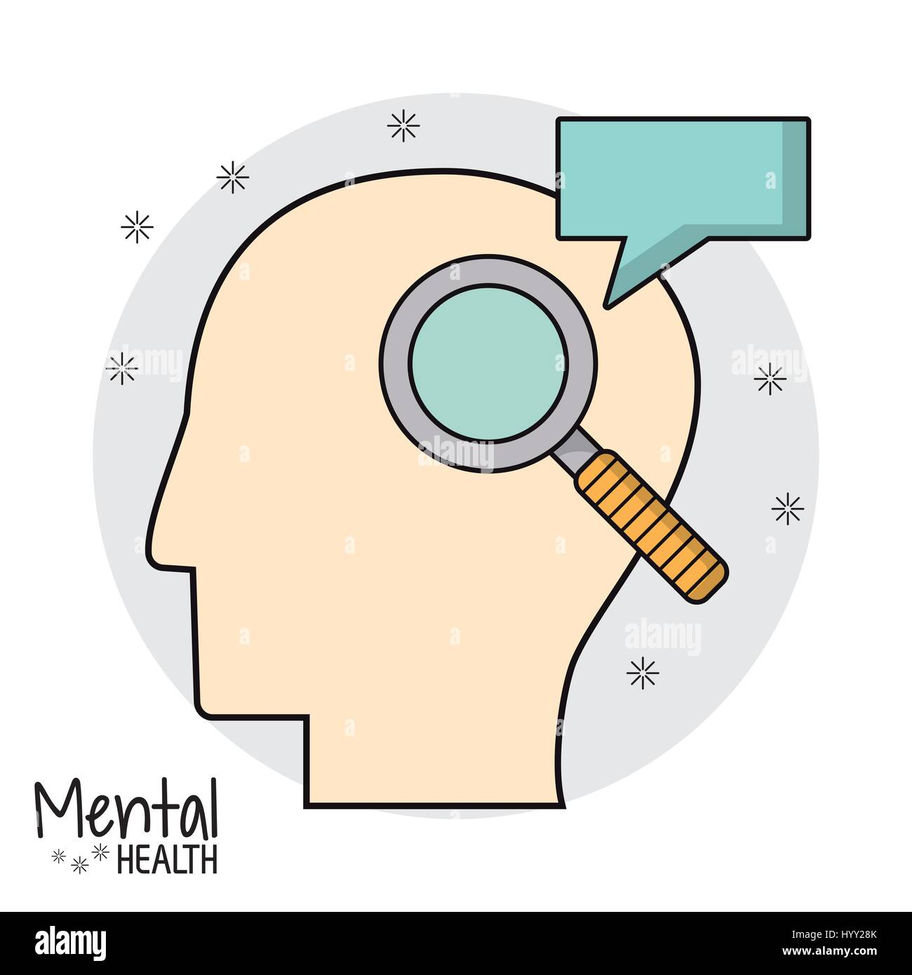 mental health head search speak - Stock Image