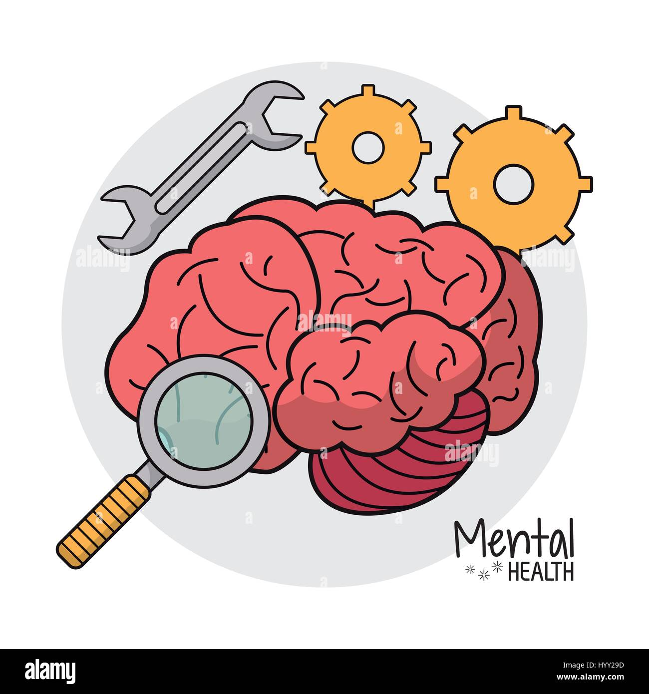 mental health gear search image - Stock Image