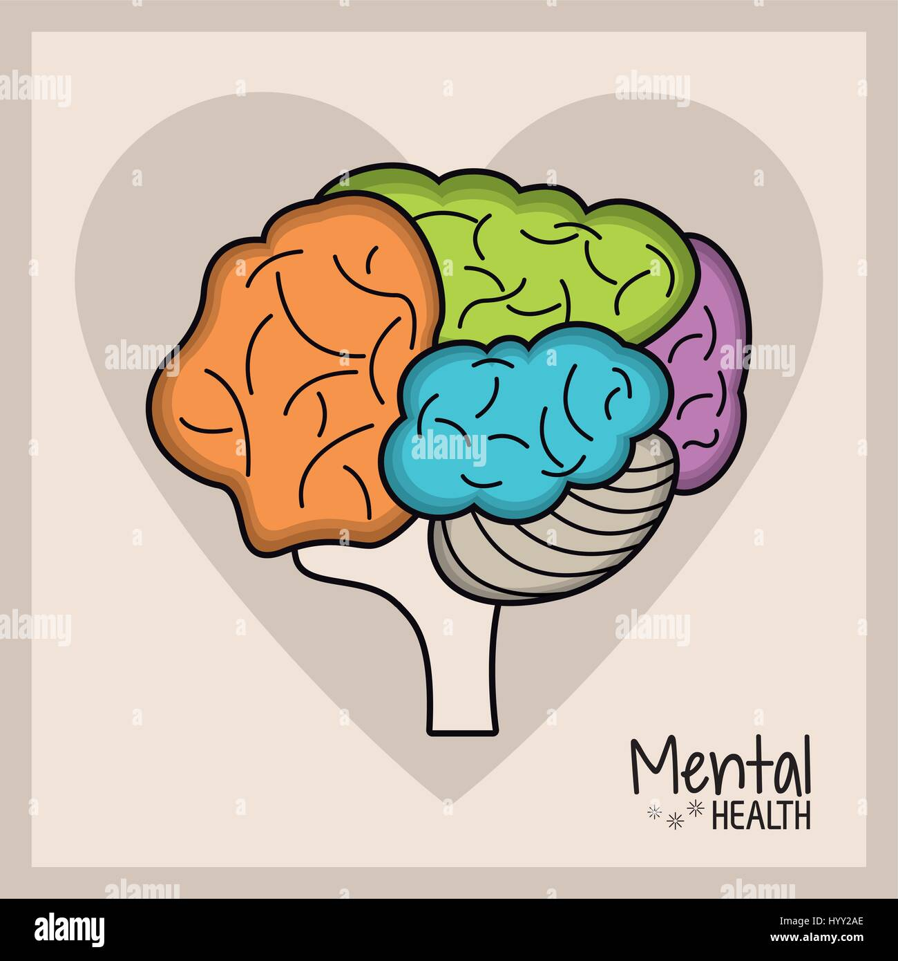 mental health brain heart - Stock Image