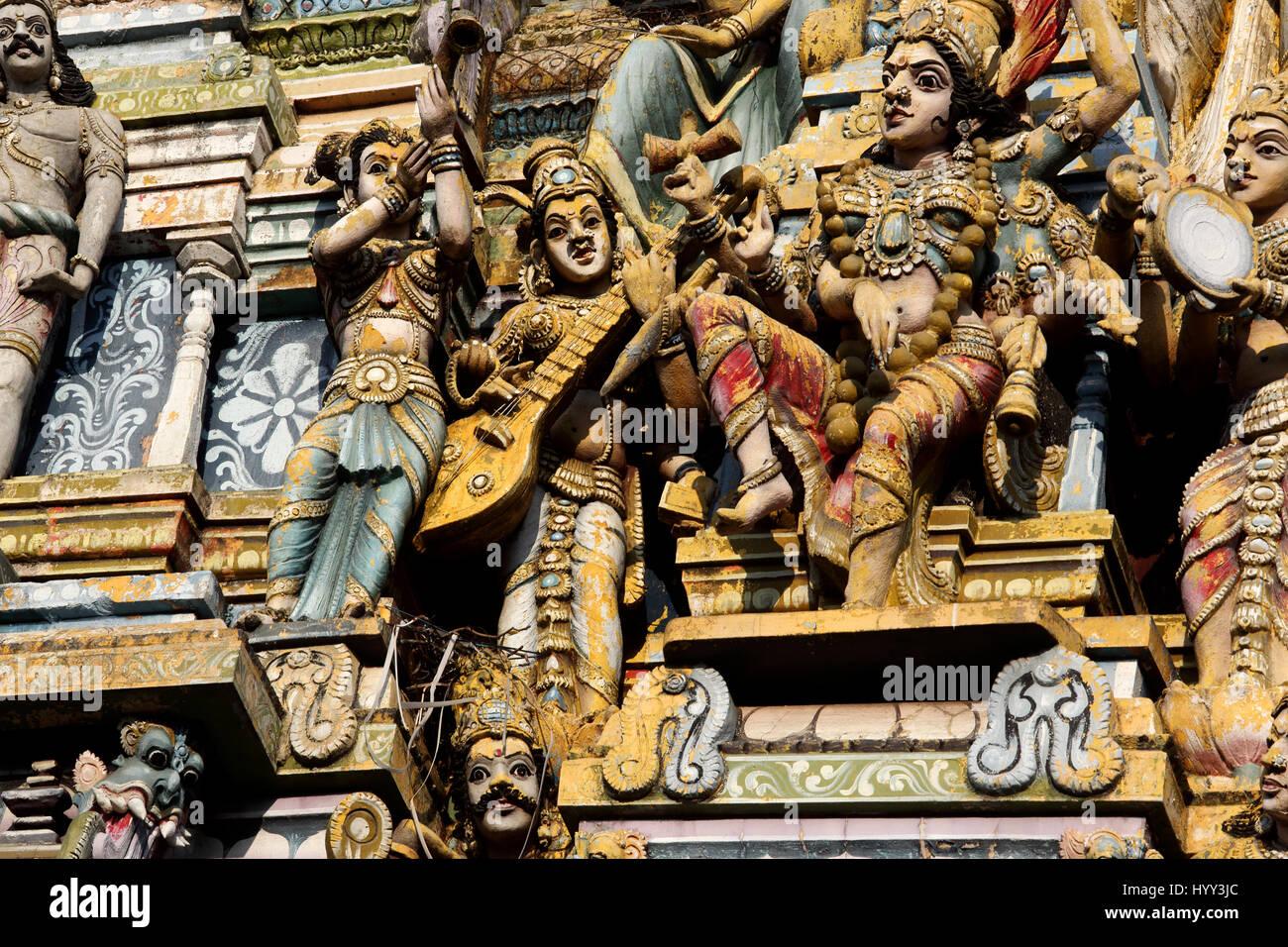 Pettah Colombo Sri Lanka New Kathiresan Kovil Temple Dedicated To War God Murugan Close Up Of Hindu Gods - Stock Image