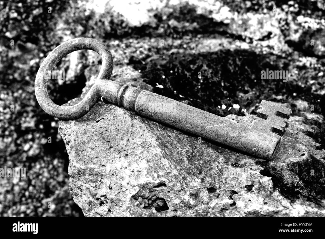 door lock and key black and white. Very Old Door Key In Rusty Iron - Stock Image Lock And Black White