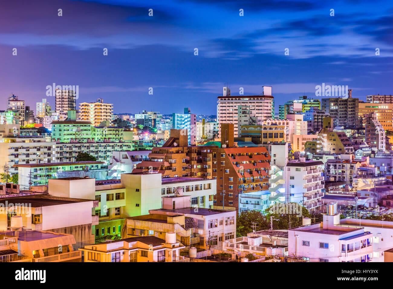Naha, Okinawa, Japan downtown skyline at night. - Stock Image