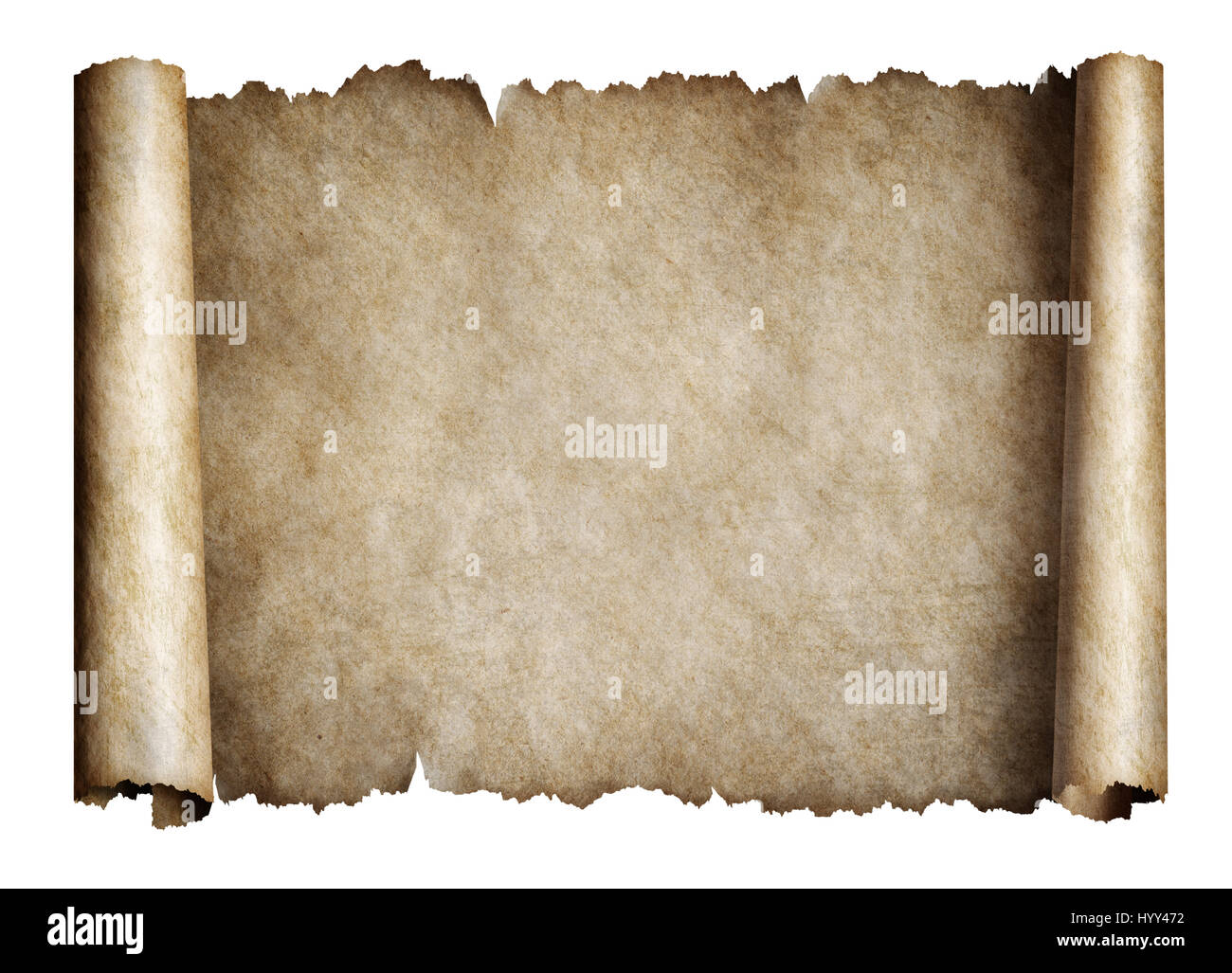 Old manusript scroll or parchment - Stock Image