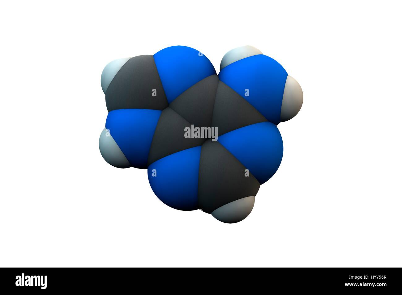 Adenine purine nucleobase molecule. Chemical formula is C5H5N5. Atoms are represented as spheres: carbon (grey), - Stock Image